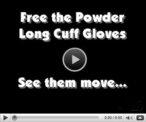 video of free the powder long cuff glove
