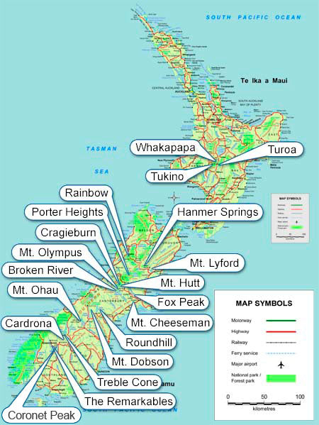 Where are ski areas in New Zealand. Map