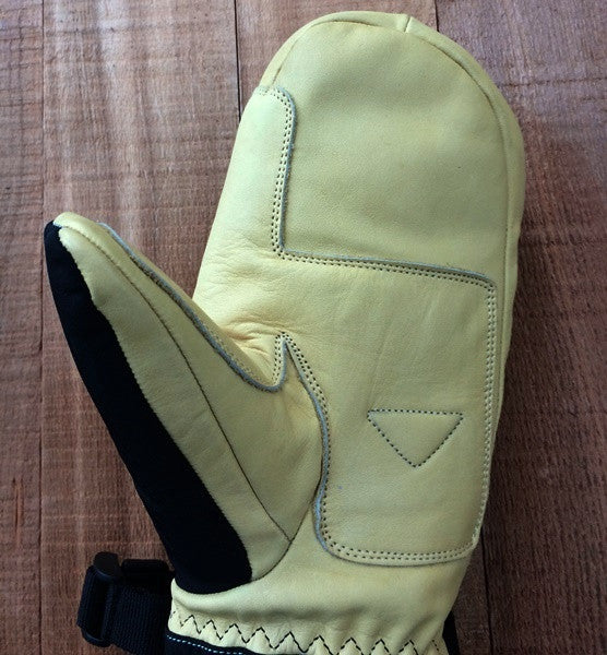 leather palm Ski Mitten with reinforcement patch