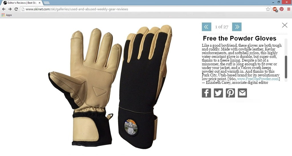 Free the Powder Gloves review in Ski Magazine