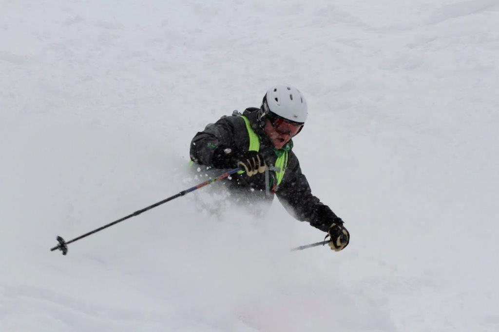 waste deep powder skiing