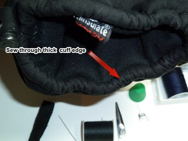 where to sew on wrist leash ski glove