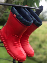 Load image into Gallery viewer, Pair of Kids Dino Welly Boots in Red. Comfortable, lightweight and durable. Available to buy from Bright Light Boots