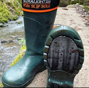 Pair of Mens Universal Pro Welly Boot in Green. Comfortable, lightweight and durable. Available to buy from Bright Light Boots
