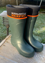 Load image into Gallery viewer, Pair of the Mens Universal Pro Welly Boot in Green. Comfortable, lightweight and durable. Available to buy from Bright Light Boots