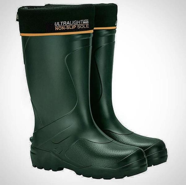 Pair of the Mens Universal Pro Welly Boot in Green. Comfortable, lightweight and durable. Available to buy from Bright Light Boots