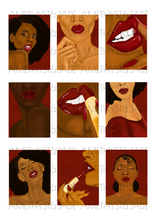 Load image into Gallery viewer, Wall art illustration of black women wearing red lipstick