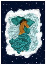 Load image into Gallery viewer, Artwork of a black woman sleeping in her cloud bed and she is half covered by green satin sheets