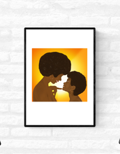 Load image into Gallery viewer, Framed wall art print of a mother looking lovingly and smiling at her young daughter, and her daughter smiling back