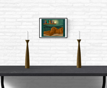 Load image into Gallery viewer, Art print of an African American woman laying down mounted on an interior white brick wall