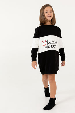 Girl Crew Neck Sweatshirt Dress SQ