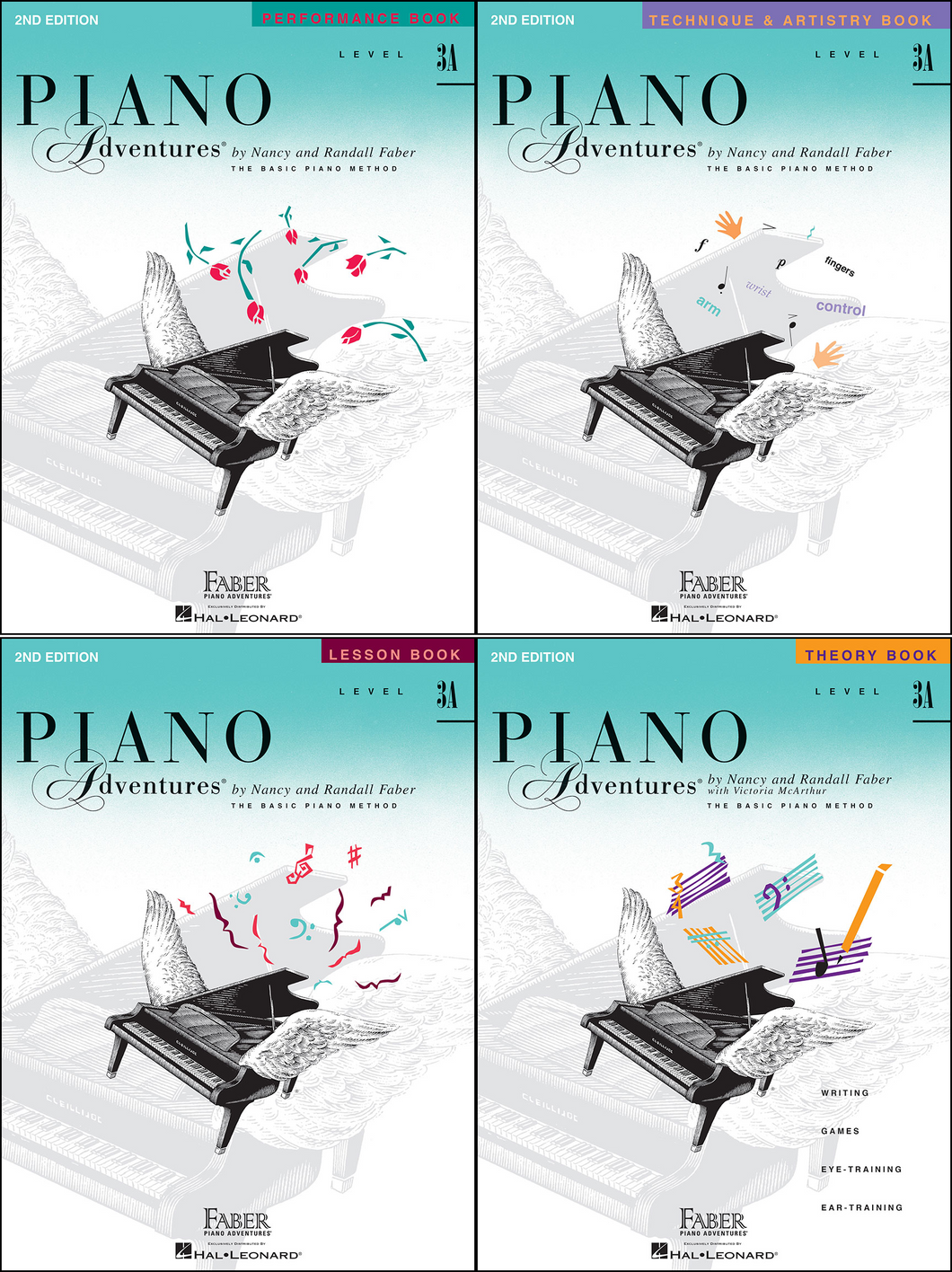 Faber Piano Adventures Level 3A Pack of 4 Books (Lesson/ Theory/ Performance/ Technique)