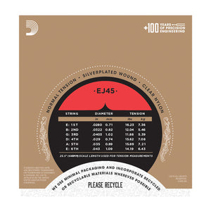 D'addario Classical Guitar Strings EJ45 Pro-Arté Nylon, Normal Tension