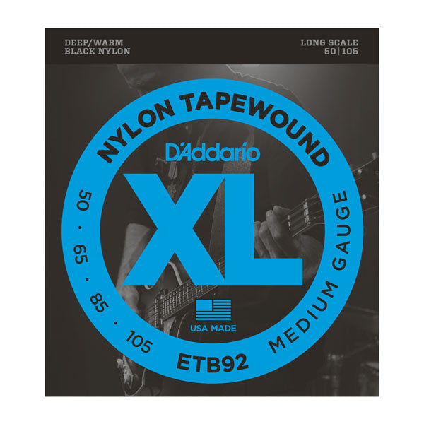 D'addario Bass Guitar ETB92 Tapewound Bass, Medium, 50-105, Long Scale