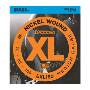 D'addario Bass Guitar Strings EXL160 Nickel Wound Bass, Medium, 50-105, Long Scale