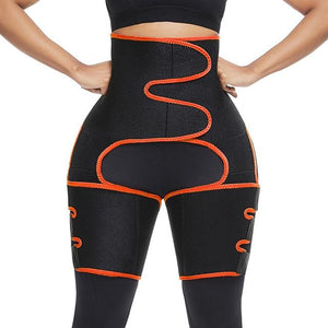 3 in 1: High Waist Thigh Trimmer, Neoprene Sweat Shape-wear and Adjustable Waist Trainer Slimming Belt - Fit 2 Perfect