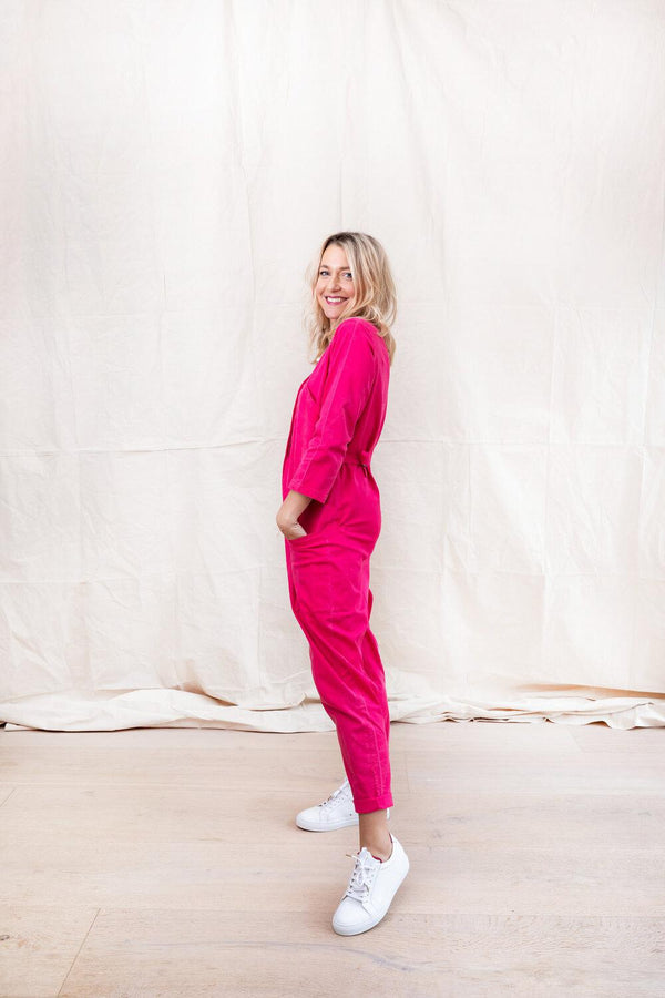 SOLD OUT: BEYOND NINE X DLAM HOT PINK JUMPSUIT