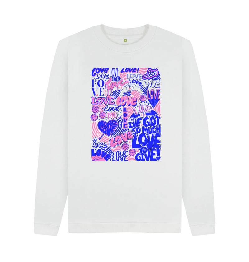 White So Much Love Sweatshirt by Ravnita Rayet