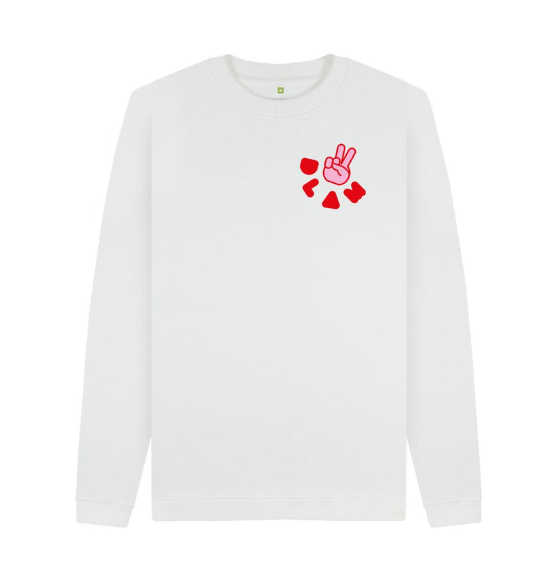 White DLAM Peace Sweatshirt by Ginny Pickles