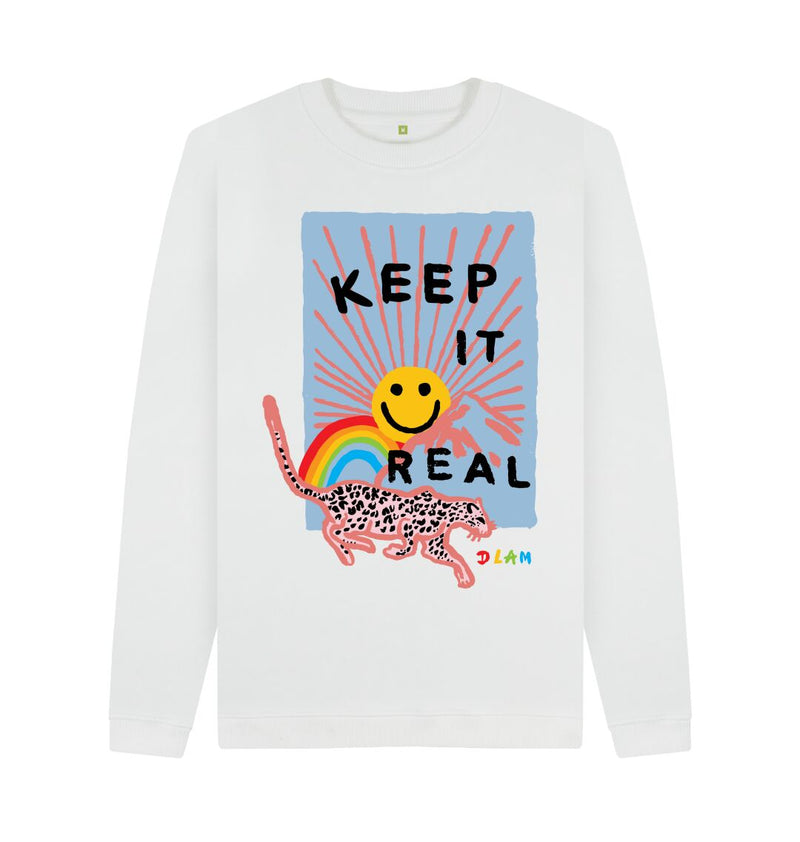 White KEEP IT REAL Crew Neck Sweatshirt