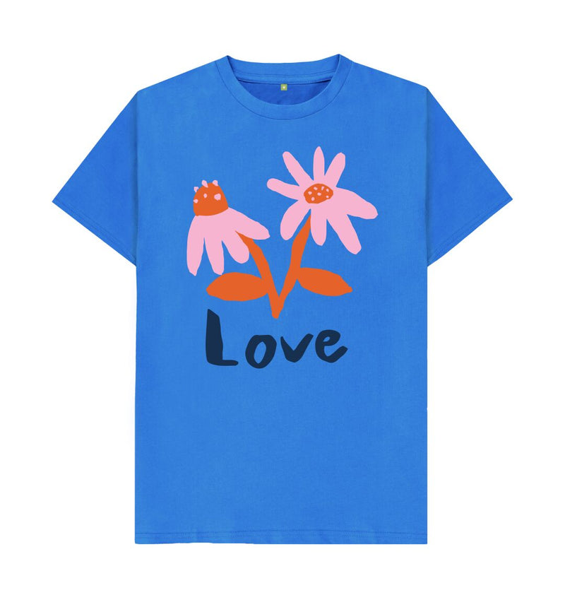 Bright Blue LOVE T-shirt by Emma Make