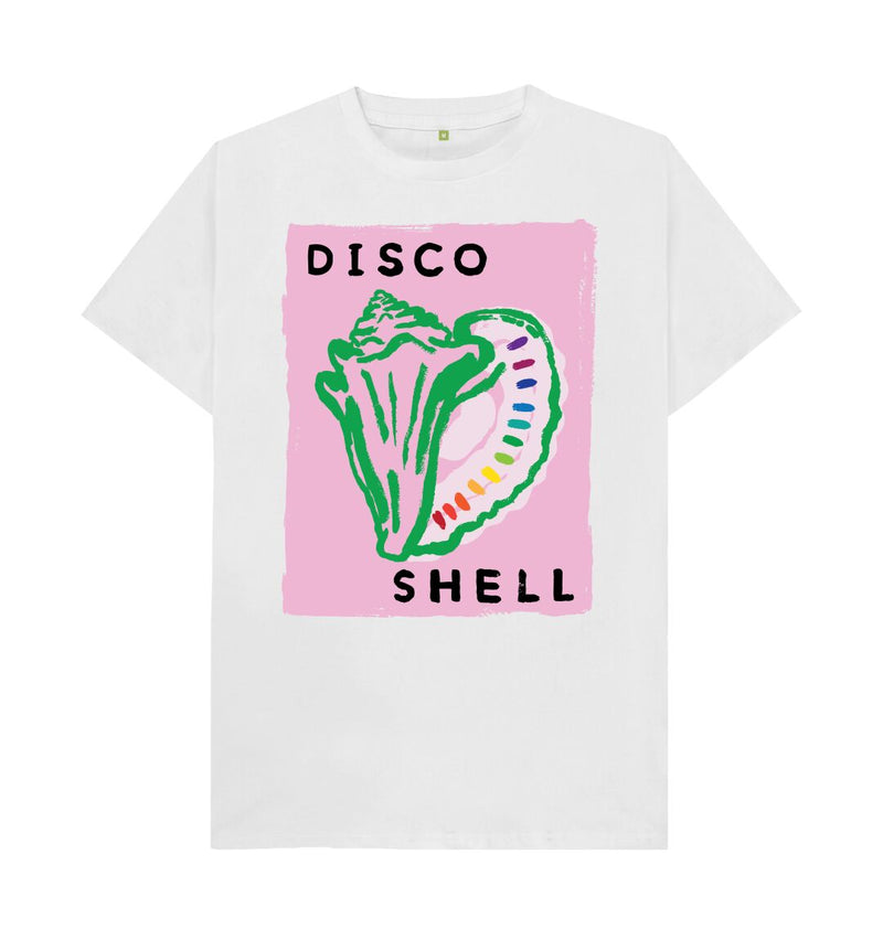 White DISCO SHELL T-shirt (Pale pink)