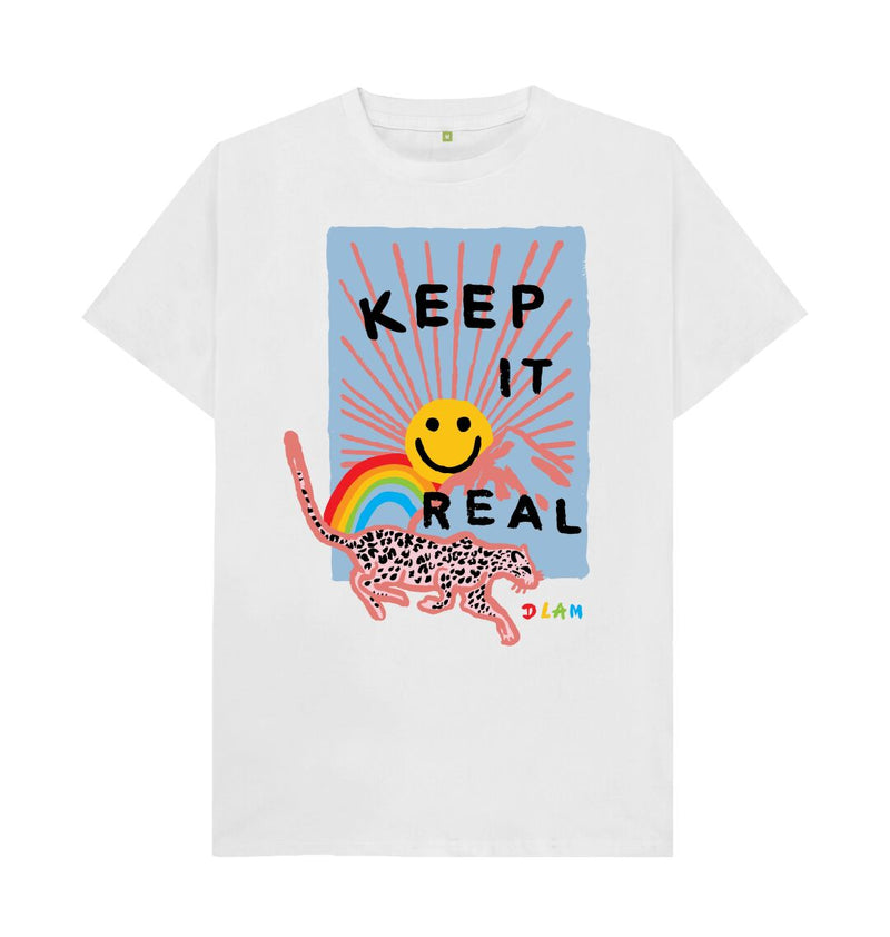 White KEEP IT REAL T-shirt Men's fit