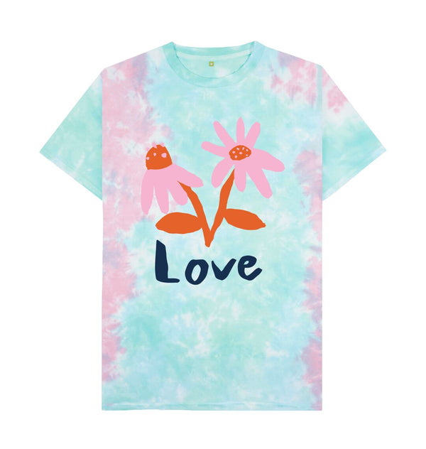 Pastel Tie Dye LOVE Tie Dye T-shirt by Emma Make