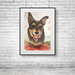 Custom Water Colour Pet Portraits - A4