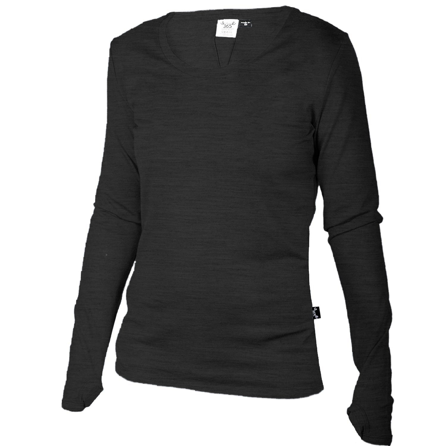 Merino 365 Women's OG Light Long Sleeve Top, Black Heather