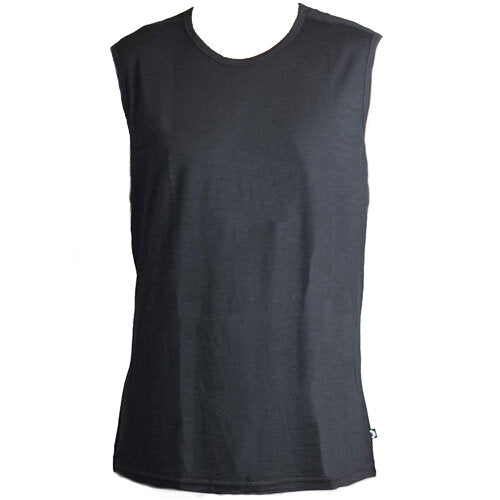 black sleeveless shirt known as the garage tank for men
