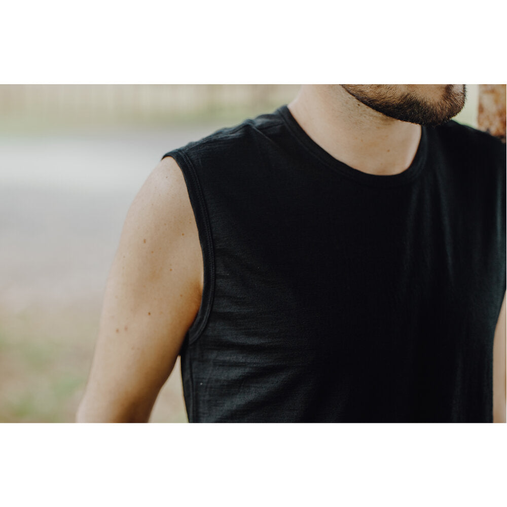 Merino 365 Men's 'Garage' Tank Top, Black Heather