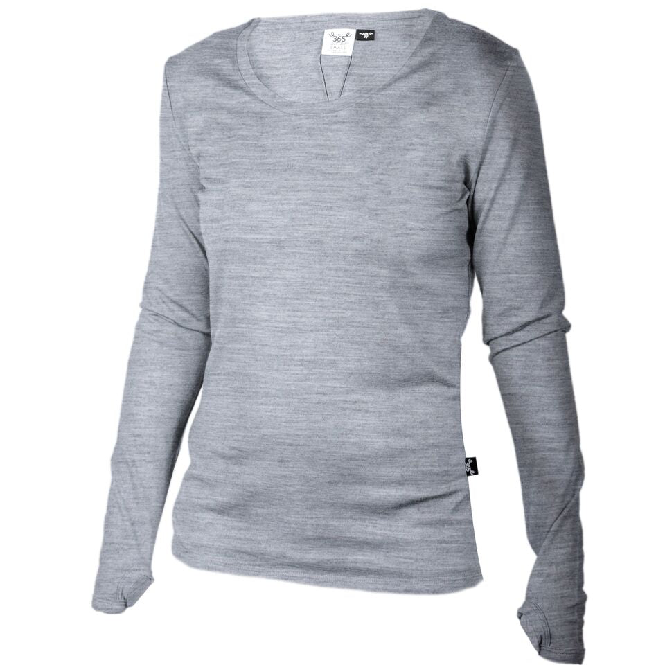 Merino 365 Women's OG Long Sleeve with Thumbloops Top, Grey Marle