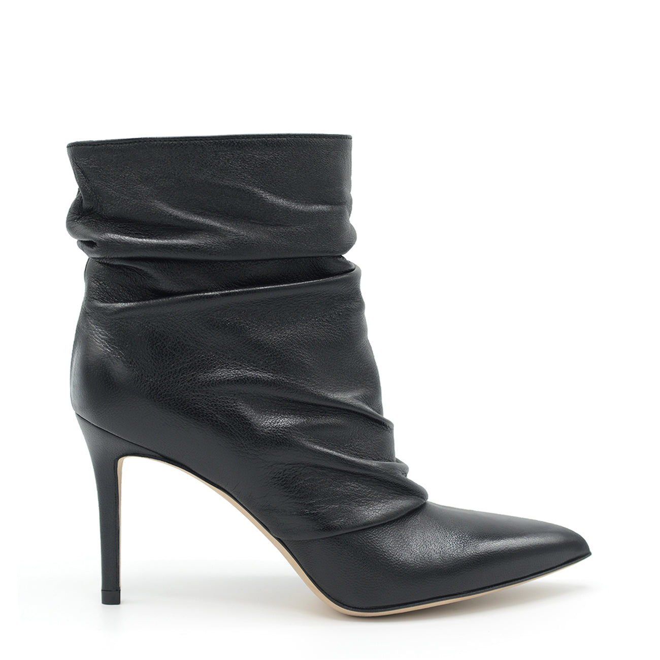 Dayana. <br> Black nappa leather ankle boots