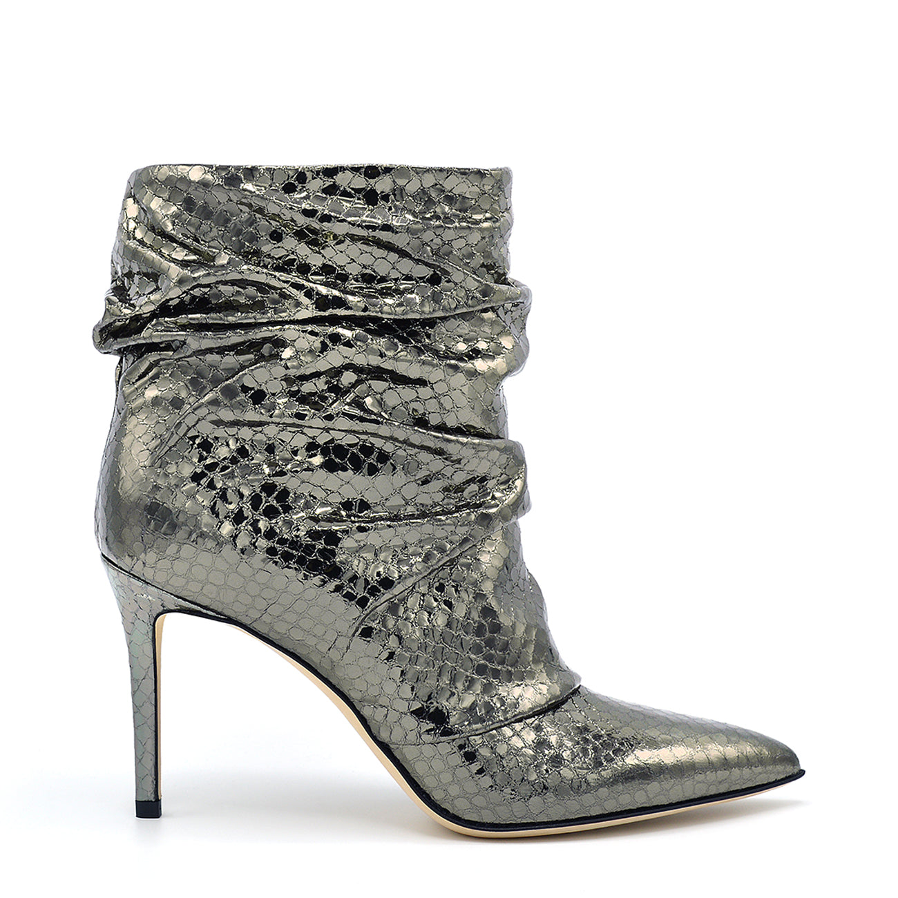 Dayana. <br> Steel gray viper mirror leather ankle boots