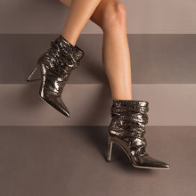 Load image into Gallery viewer, Dayana. <br> Steel gray calfskin ankle boots