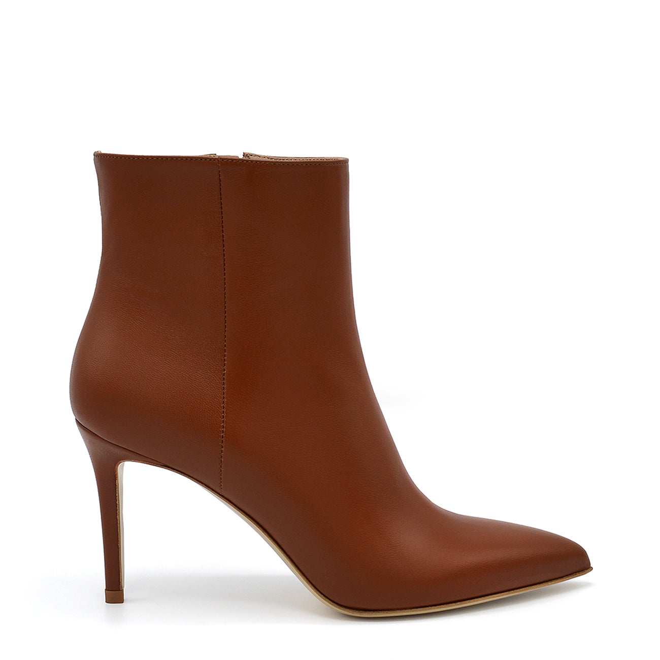 Debra. <br> Bark brown nappa leather ankle boots
