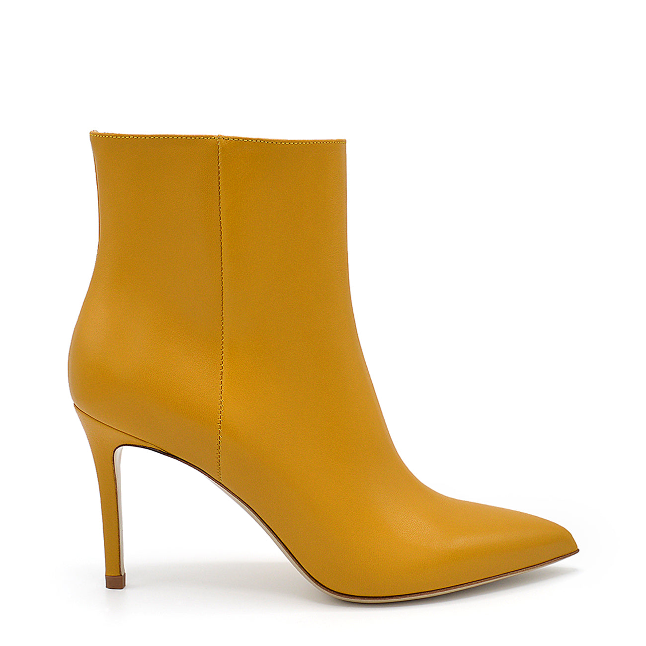 Debra. <br> Mustard yellow nappa leather ankle boots