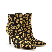 Load image into Gallery viewer, Domyna. <br> Leopard print safary calf hair leather ankle boots