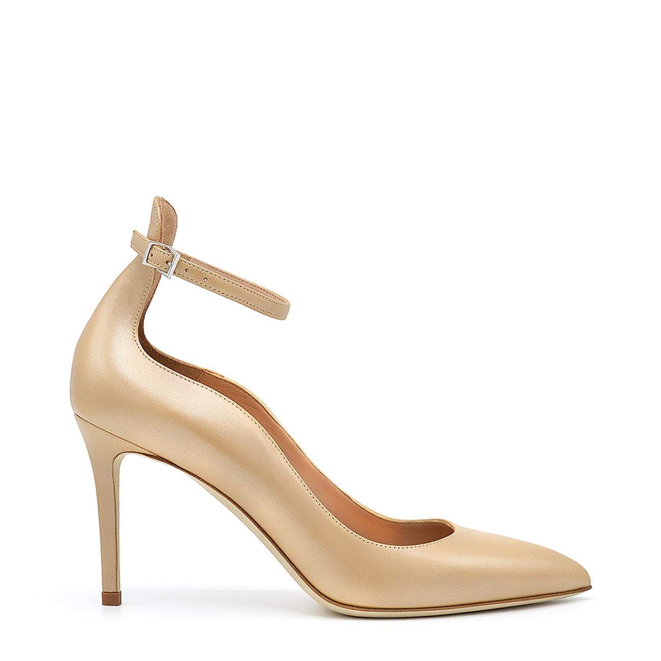 Dudy. <br> Ankle strap juta beige pearly palit leather pumps