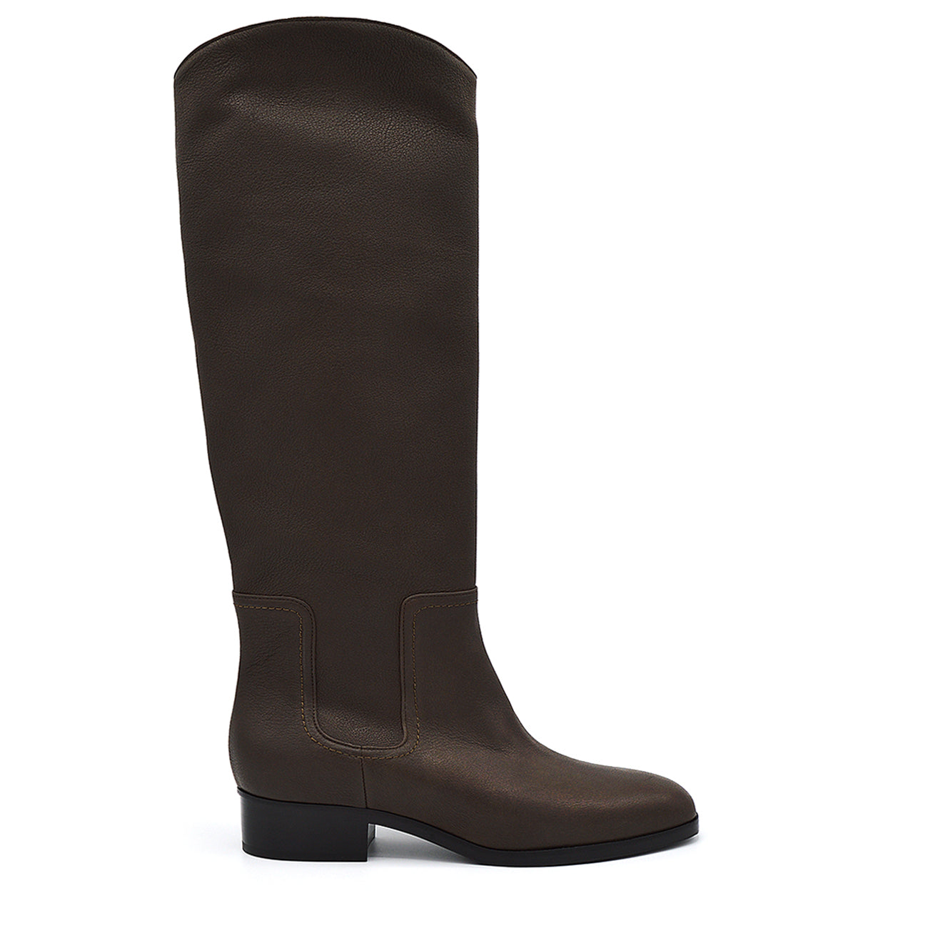 Isaby. <br> Espresso brown calfskin knee-high boots