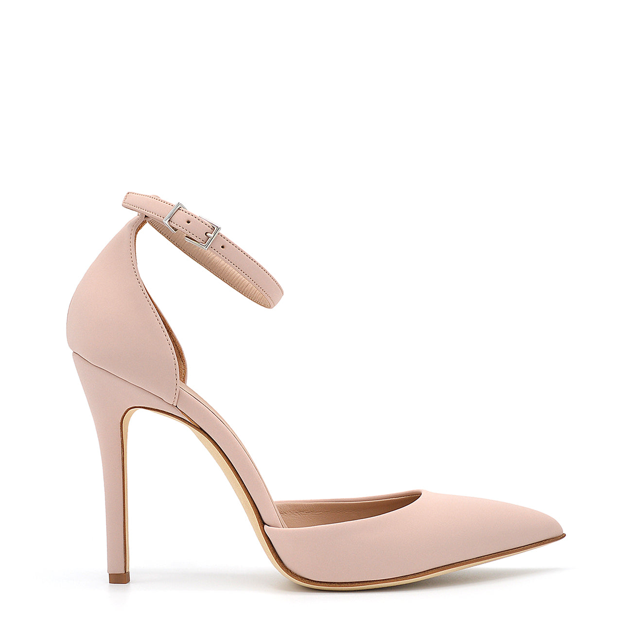 Lamya. <br> Ankle strap skin pink rubberized pumps