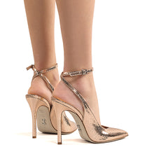 Load image into Gallery viewer, Leta. <br> Ankle strap rose gold mamba lamè slingbacks