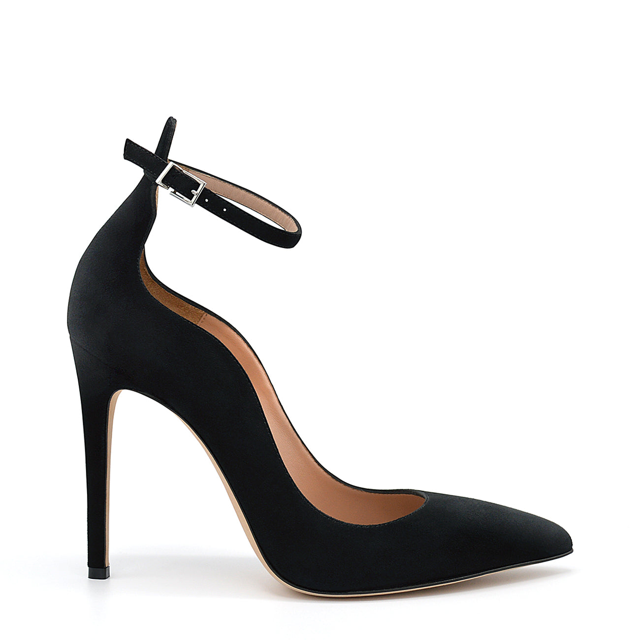 Lilian. <br> Timeless ankle strap black suede pumps