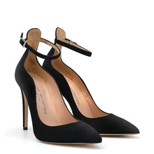 Load image into Gallery viewer, Lilian. <br> Timeless ankle strap black suede pumps
