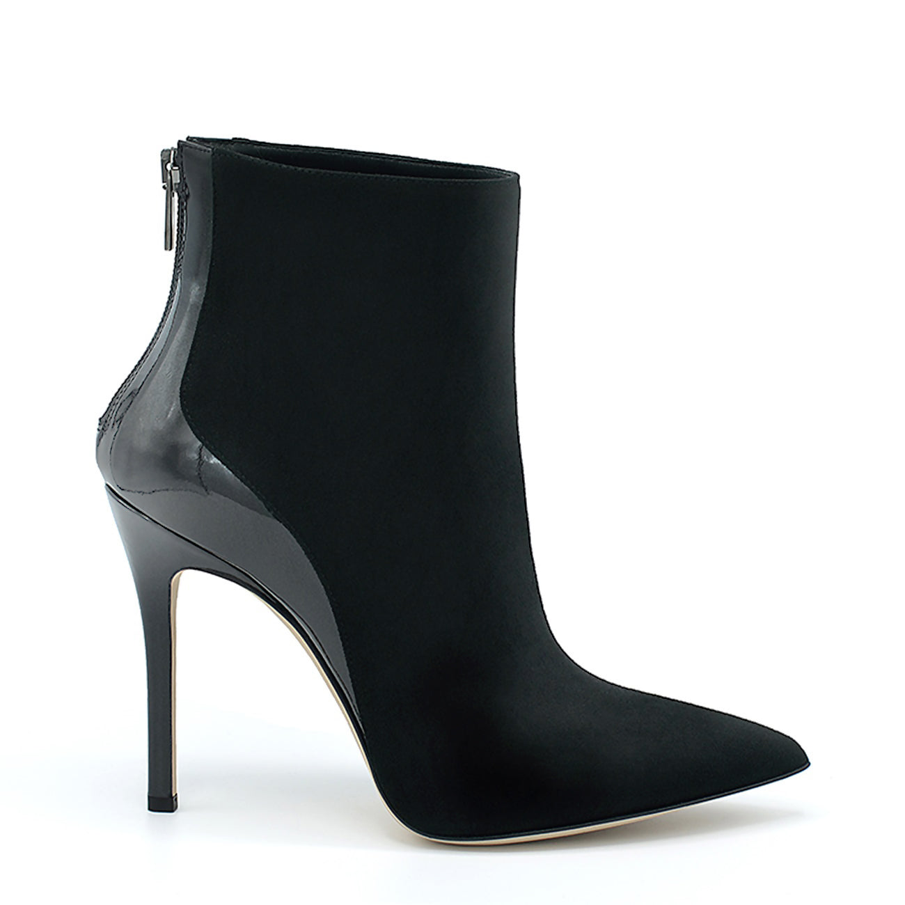 Love. <br> Patent leather heel black suede ankle boots