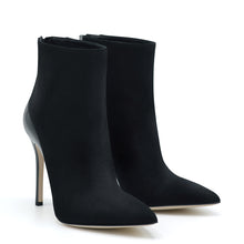 Load image into Gallery viewer, Love. <br> Patent leather heel black suede ankle boots