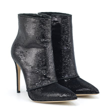 Load image into Gallery viewer, Luxor. <br> High-heel black paillettes ankle boots