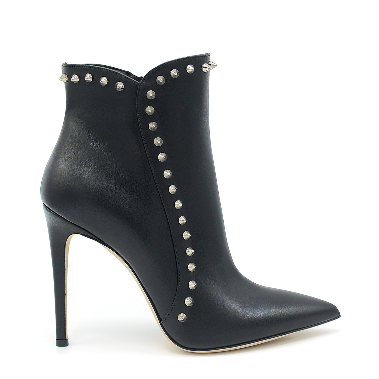 Lyrica. <br> High-heel black nickel-studded calfskin ankle boots