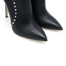 Load image into Gallery viewer, Lyrica. <br> High-heel black nickel-studded calfskin ankle boots